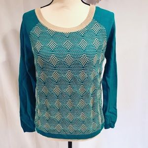 Copper Key Cotton Teal Embroidered Sweater